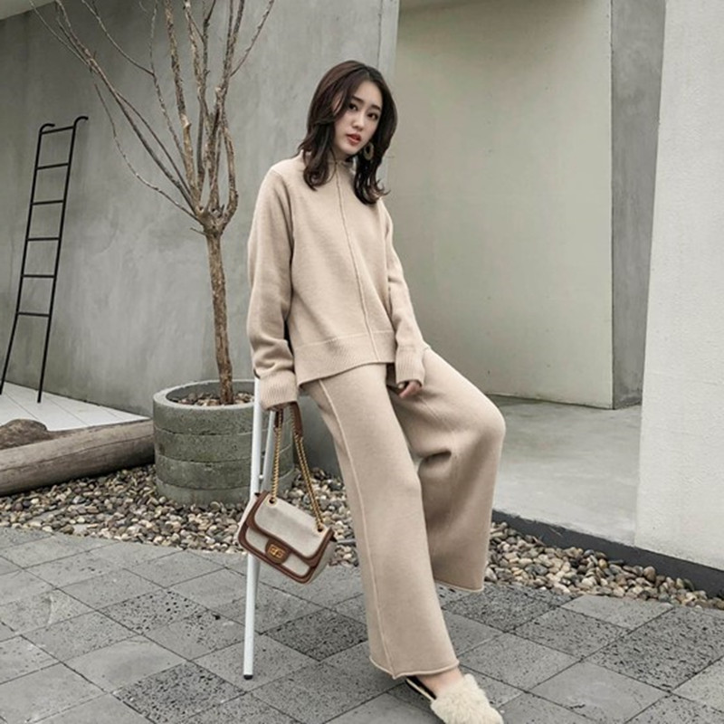 FMFSSOM Knitting Female Sweater Pantsuit For Women Two Piece Set Knitted Pullover V-neck Long SleeveTop Wide Leg Pants Suit