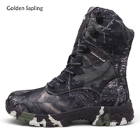Golden Sapling Winter Army Tactical Boots Men Military Outdoor Camouflage Men's Sneakers Waterproof Canvas Camping Hunting Shoes