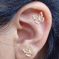 Женские маленькие золотые серьги-бабочки, пирсинг хряща уха Золотая шпилька, серьги с кубическим цирконием AAA, новое поступление