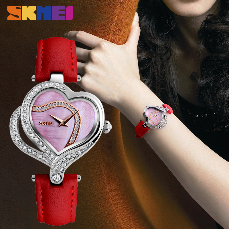 SKMEI Fashion Quartz Women Watches Creative Diamond-studded Ladies Wristwatch Top Brand Luxury Watch Women Montre Femme 9161