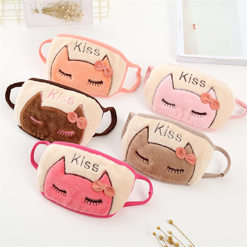 Lovely Cotton Animal Masks Women Outdoor Cartoon Bear Cat Pattern Mask Girls Fashion Cute Warm Letter Mask For Winter Students