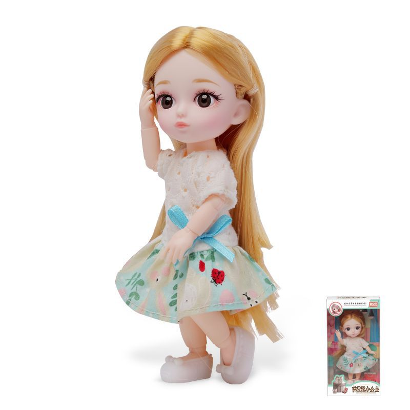 16cm/31cm Bjd Doll 12 Moveable Joints 1/12 Girls Dress 3D Eyes Toy with Clothes Shoes Kids Toys for Girls Children Birthday Gift 18