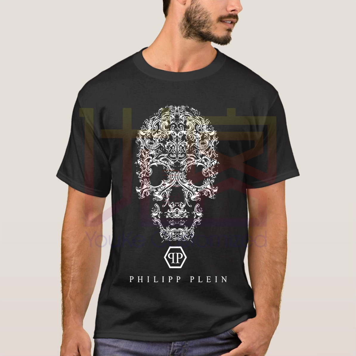 Retro Phillip Plein Skull Graphic Creative T-Shirt Casual Men's Short Sleeve T-Shirt Streetwear