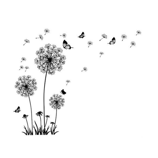 Black Dandelion & Butterfly Wall Sticker 8
