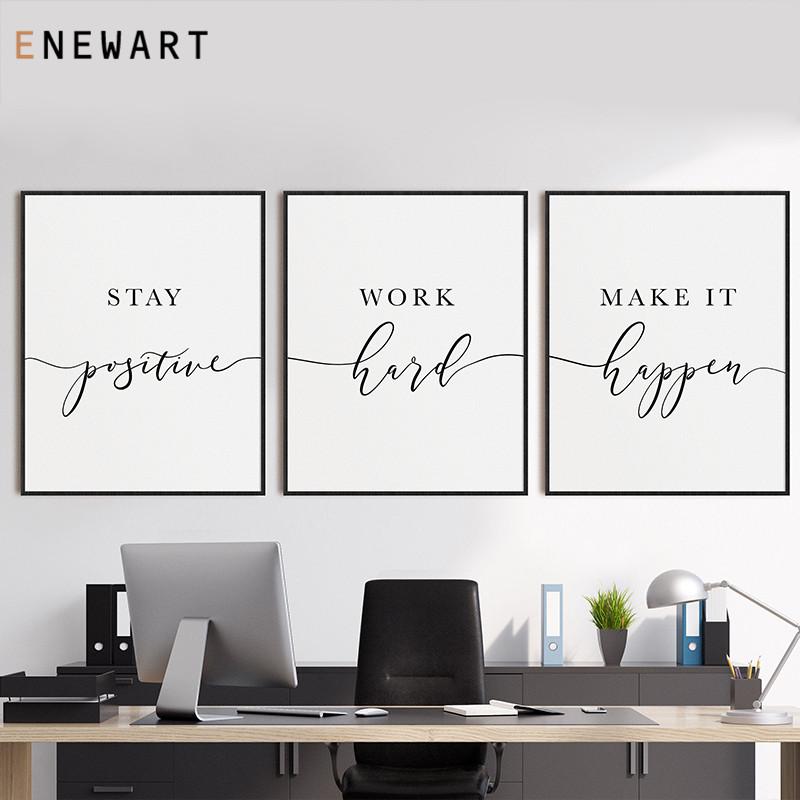Office Decor Inspirational Printable Wall Art Positive Quote Canvas Painting Motivational Prints Home Office Decorative Pictures