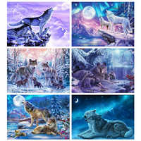 Evershine Diamond Painting Animal Cross Stitch Diamond Embroidery Wolf Full Drill Display Diamond Mosaic Kit Winter Scenery Art