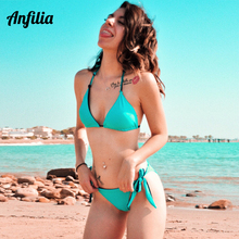 Anfilia Women Bikini Set Halter Swimsuit Side Bandage Swimwear Bathing Suit Beachwear Sexy Bikini crisscross halter bikini set