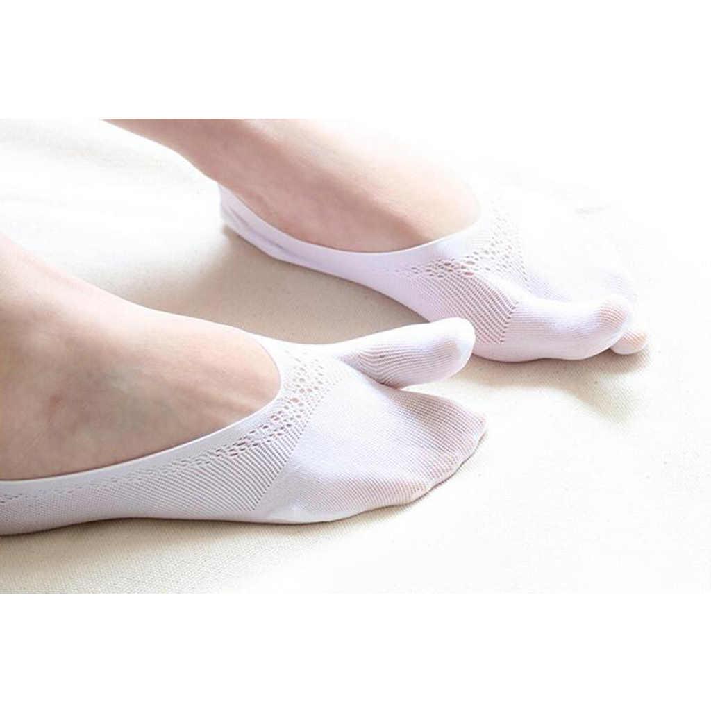1 Pair Flip Socks Tabi Split Toe Two Toe Non Slip Flat Hidden Socks White