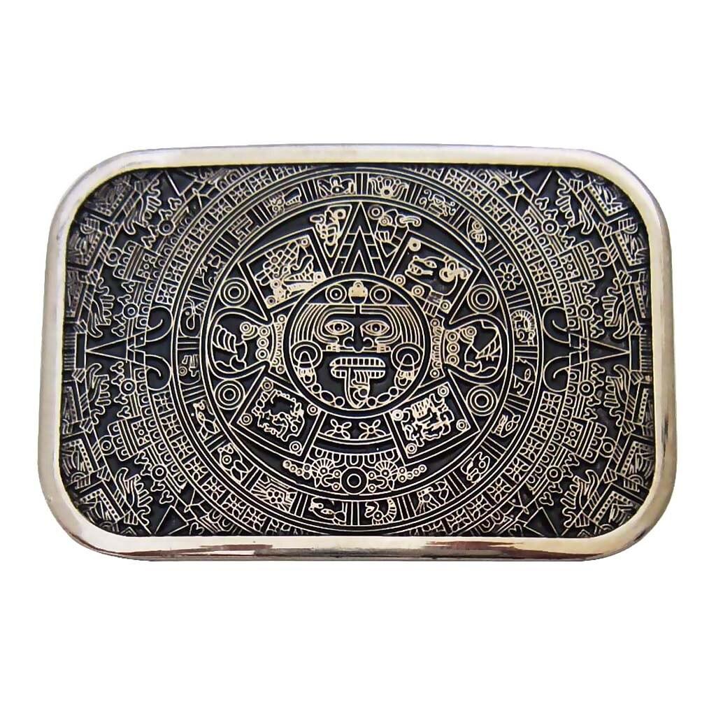 Mens Fashion Brand Western Cowboys Aztec Calendar Maya Belt Buckle Vintage Indian Hip Hop Belt Buckle For Jeans PU Belts