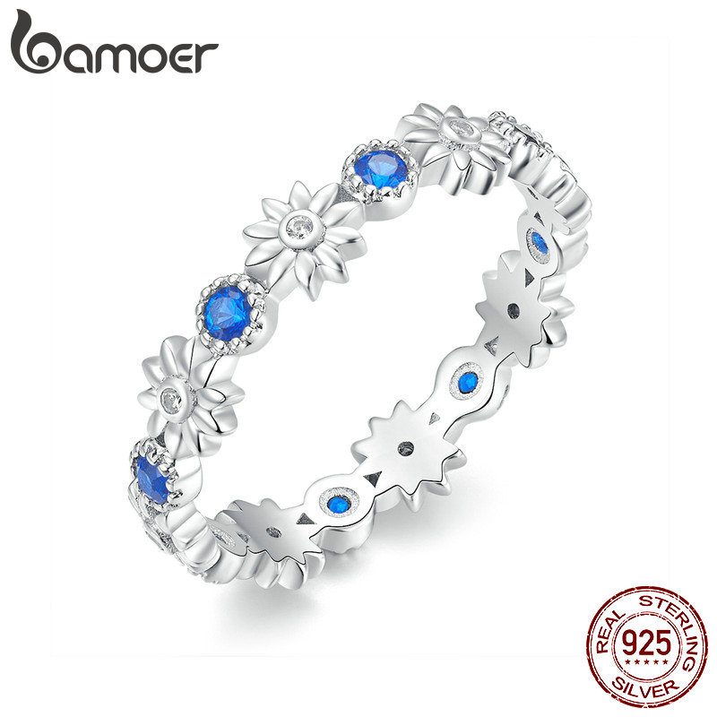 BAMOER New Arrival Wholesale Cheap Popular Flower Finger 925 Sterling Silver Ring Fashion Wedding Jewelry 3 Size BSR056