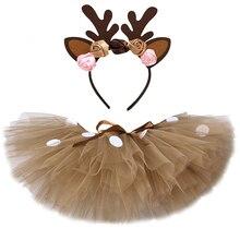 Tulle Skirt Christmas-Costume Reindeer Brown Girl Fluffy Kids Children for Halloween