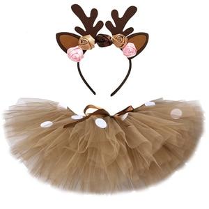 Пышная коричневая юбка-пачка с оленем для девочек Рождественский костюм Детская фатиновая юбка с оленем для Хэллоуина, карнавальный костюм...