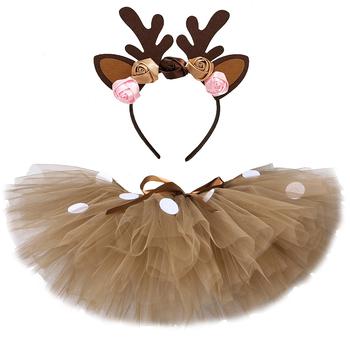 Puszysty brązowy Deer Girl Tutu spódnica kostium na boże narodzenie dzieci renifer spódnica z tiulu na Halloween karnawał dzieci strój 1-14 lat tanie i dobre opinie Funkidsandme Nowość CN (pochodzenie) Pasuje prawda na wymiar weź swój normalny rozmiar NYLON Wstążki JY-53 Powyżej kolana Mini