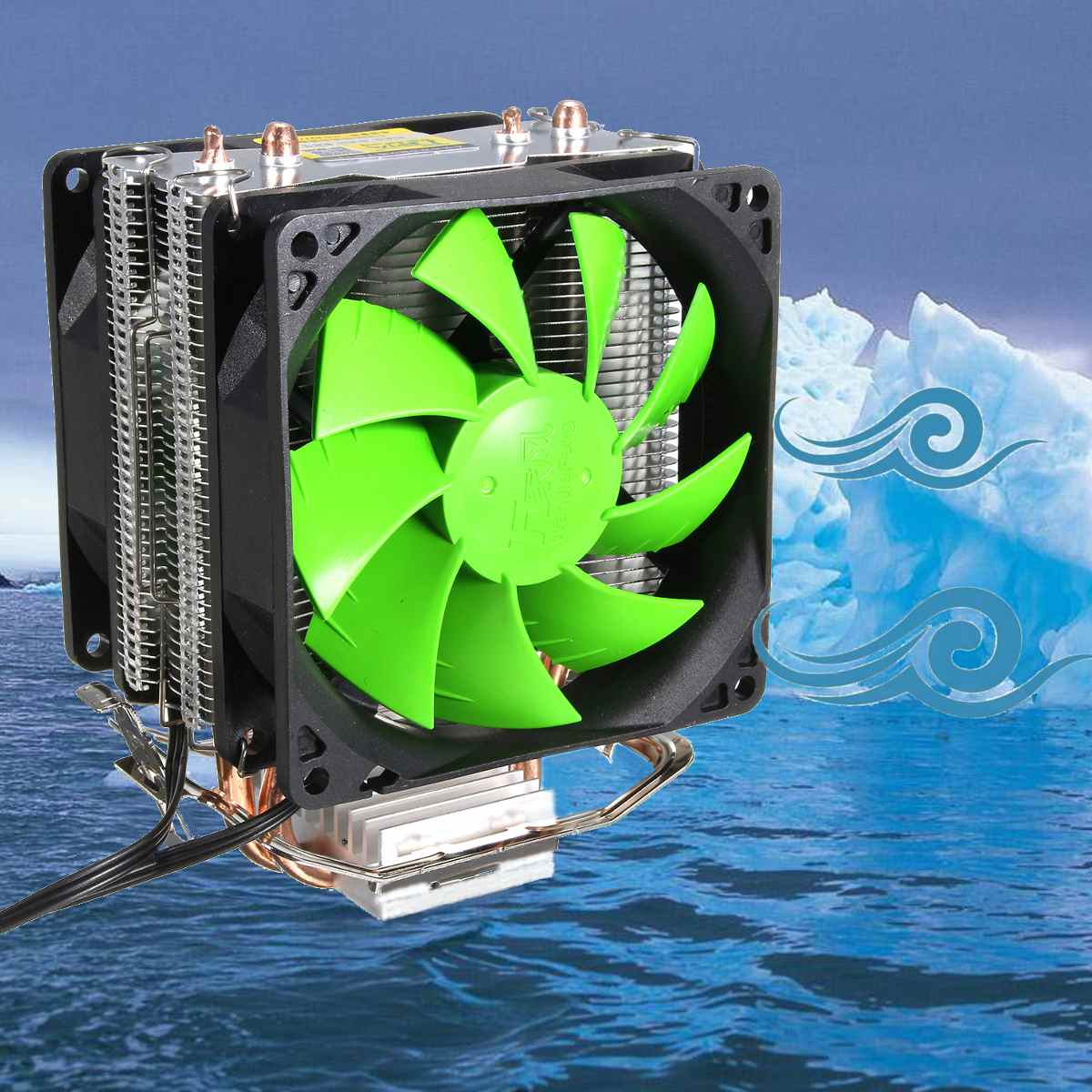 3 Pin Dual Fan CPU Cooler Dissipador de Calor com Ventilador de Refrigeração da CPU Para Intel LGA775/1150/1155 AMD AM2 /AM2 +/AM3 AM4 Ryzen Pasta Termica