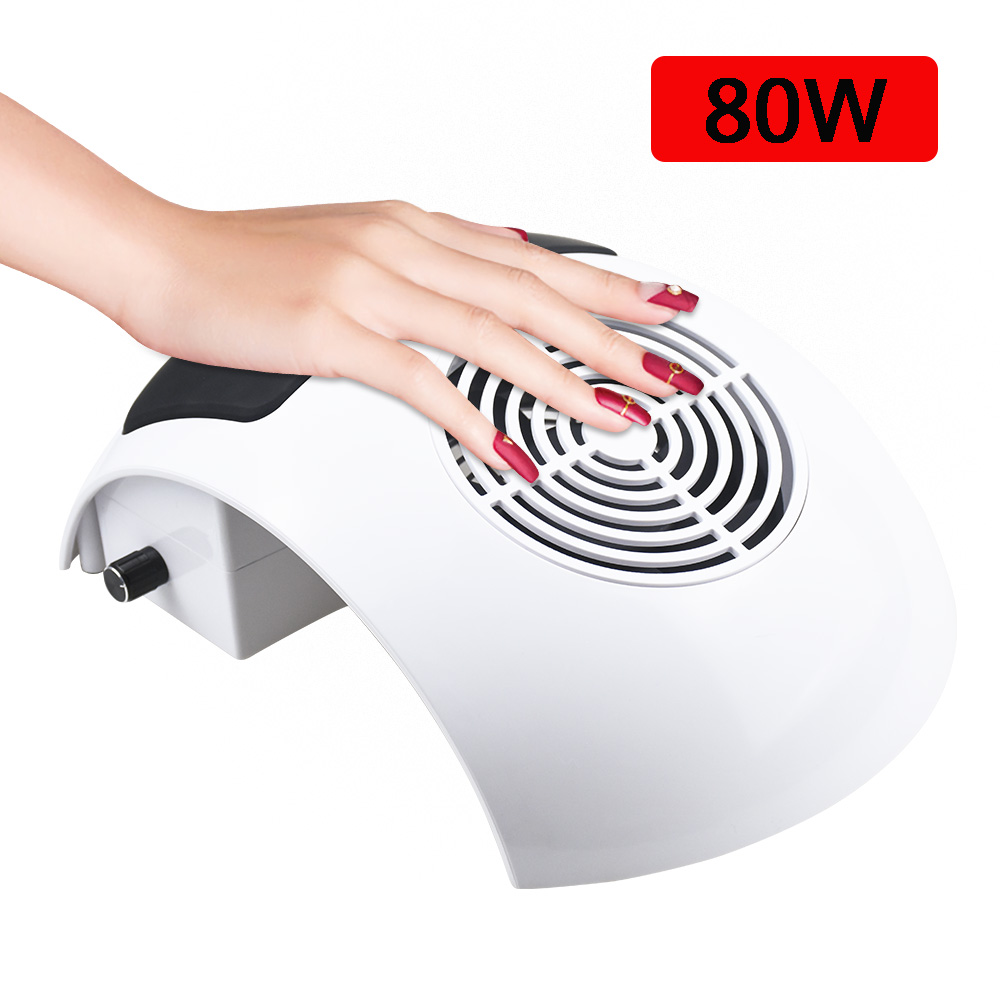 80W Strong Nail Dust Suction Collector Vacuum Cleaner with Powerful Fan Dust Collecting Bag Nail Art Equipment Nail Salon Tools