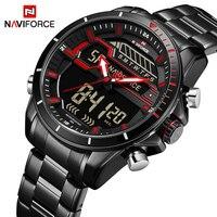 Top Luxus Marke NAVIFORCE Männer Sport Uhren herren Quarz Digitale LED Uhr Männer Voller Stahl Armee Militärische Wasserdichte Handgelenk uhr|Quarz-Uhren|   -