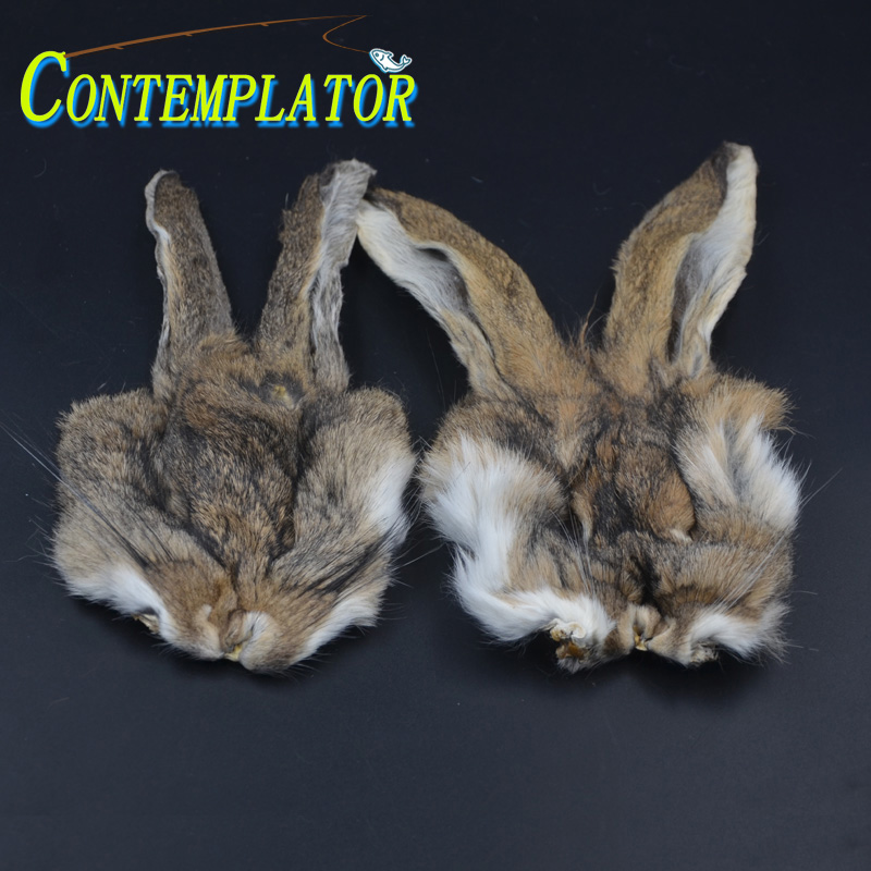 2pcs Natural HARE'S MASK WITH EARS Hare Ear Nymph Fly Tying Materials Spiky Mottled Guard Hairs Rabbit Dubbing Fur Trout Fly
