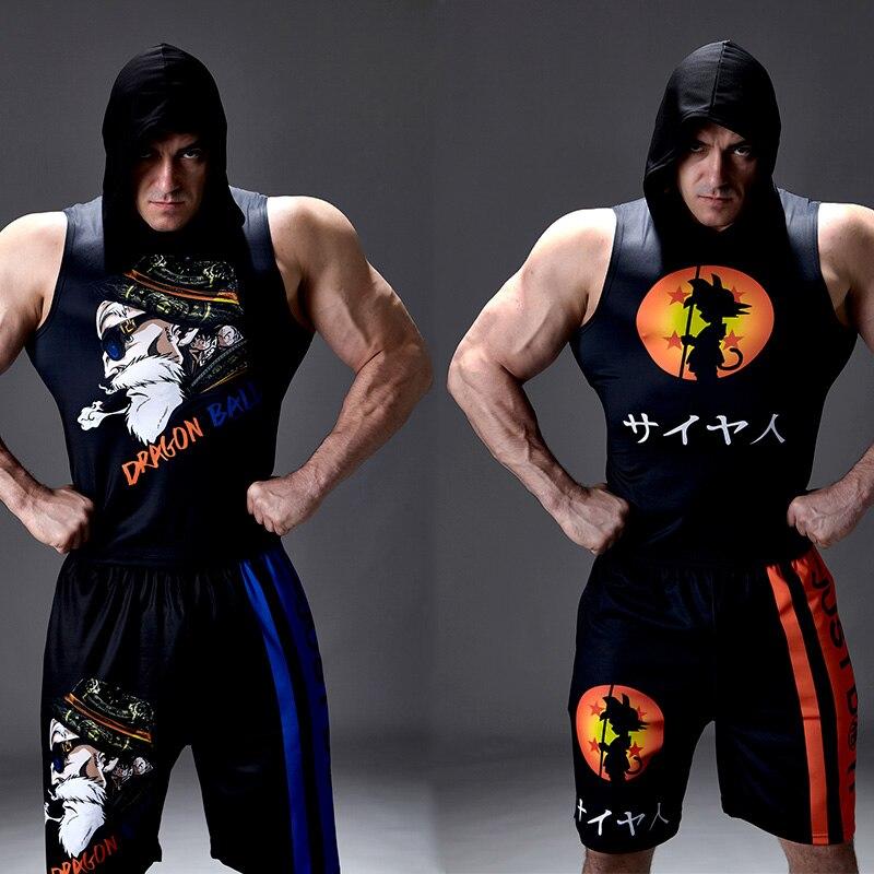 2020 Newest Gyms Workout Hoodies Sleeveless Shirt Dragon Ball Tank Top Men Bodybuilding Fitness Sportswear Vests Muscle Singlets