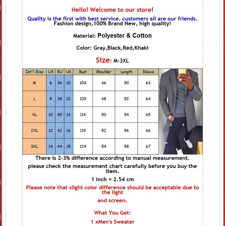 M-XXXL Autumn Winter Men Casual Coat Thicken Woolen Trench Coat Business Male Solid Classic Overcoat Medium Long Jackets Tops 2