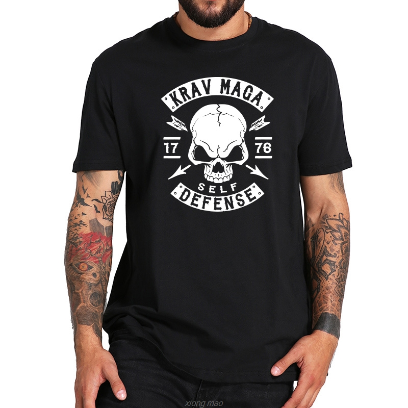 Eu Size 100% <font><b>T</b></font> <font><b>Shirt</b></font> <font><b>Israel</b></font> Krav Maga Self Defence Tee Graphic <font><b>Shirt</b></font> Short Sleeve Crewneck Tops Casual image