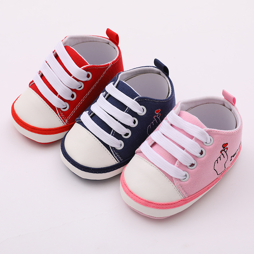 OEAK 2020 Newborn First Walker Crib Shoe White Soft Anti-Slip Sole Unisex Toddler Casual Canvas Baby Infant Boys Girl Shoes