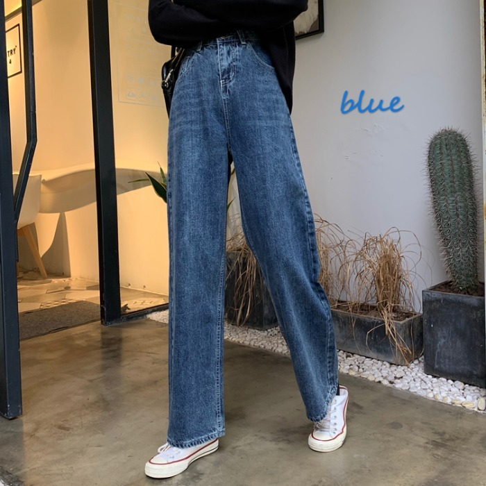 Jeans Women 2019 New Winter Korean Version Loose Fit Students' All-round Straight Tube Floor Pants Casual Wide Leg Long Pants