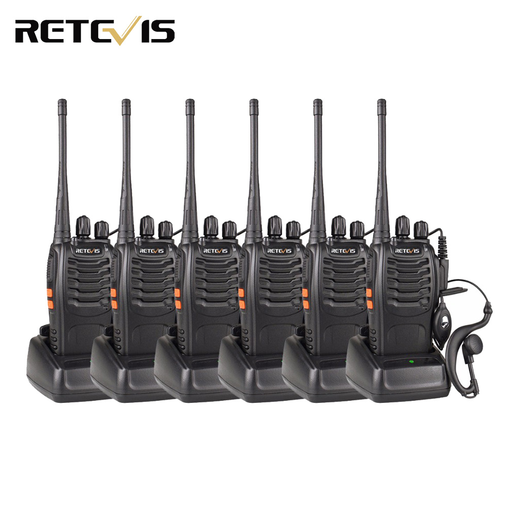 6pcs Walkie Talkie Retevis H777 3W UHF 400-470MHz Frequency Portable Ham Radio Hf Transceiver Radio Communicator Handy