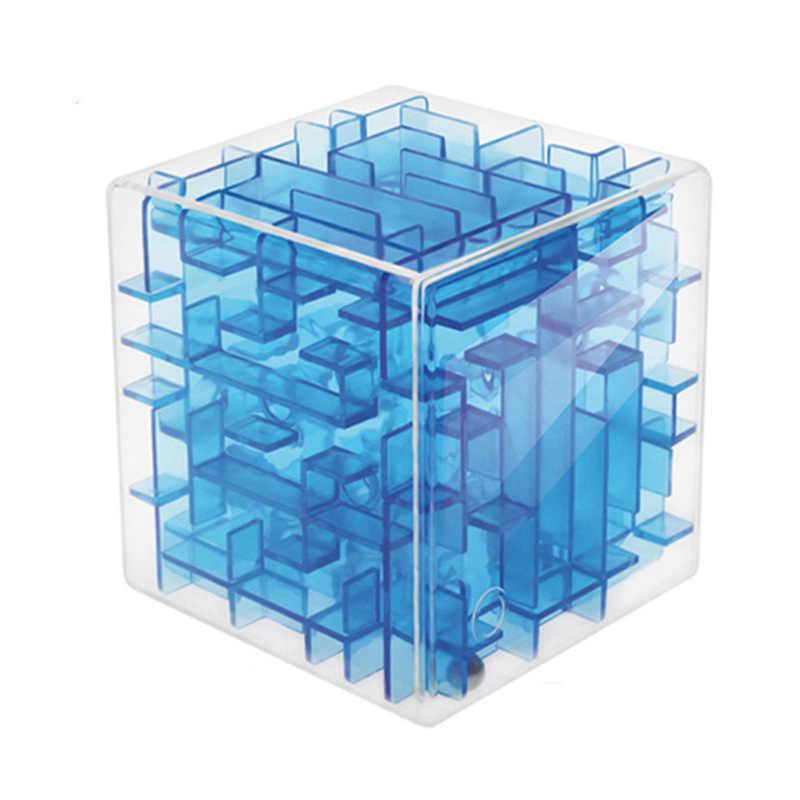 Новый синий 3D куб головоломка деньги Лабиринт банк Копилка для монет Чехол для коллекции коробка забавная игра в голову детские игрушки для детей интеллектуальное улучшение