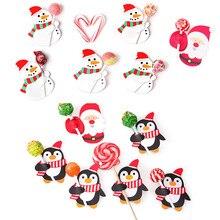 50 предметов; милые принты; зимние детские носки декоративная Милая Санта Клаус узор бумажные карточки DIY Приглашения леденец на палочке подарок посылка Декор рождественские подарки A30821