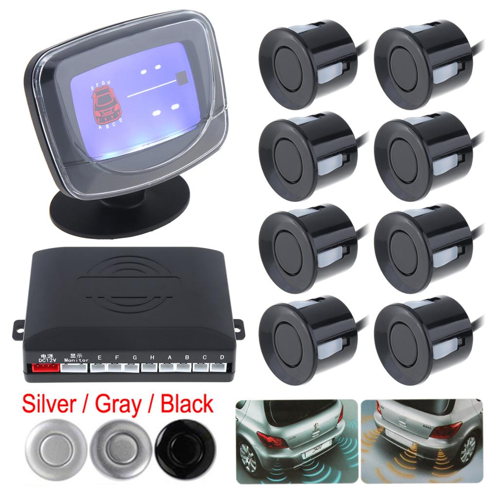 8 x Weatherproof Rear Front View Auto Car Parking Sensors System Vehicles Reverse Backup Radar Kit with LCD Display Monitor