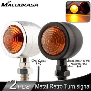 2PCS Universal Vintage Calssic Motorcycle Turn Signal Light Black Metal Indicator Lamp Light Retro Moto Amber Blinker Light 12V