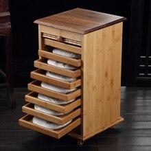 9 слоев высокой емкости бамбуковый деревянный шкаф для хранения чайного торта пуэр настольная коробка для хранения чайного лотка ящик для чайного набора запасные части