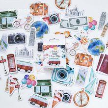 Novo 46 pçs/caixa bonito câmera bicicleta adesivos de viagem decorativos bala diário scrapbooking diy mini vara etiqueta papelaria