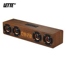 20W Wooden Bluetooth Bass Speaker Alarm Clock 4 Horn AUX Input TF Card Playback Wireless Subwoofer Portable Bass Column