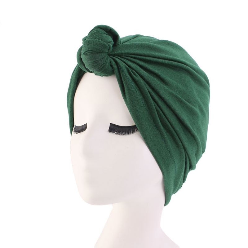 Helisopus Solid Color Top Knotted Turban Women Elastic Headscarf Africa Twist Headwrap India Hat Chemo Hat Hair Accessories