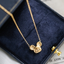 YUN RUO Trendy Cute Mouse Pendant Necklace Yellow Gold Color 316 L Titanium Steel Jewelry Woman Gift Never Fade Hypoallergenic trendy never fade titanium steel snake chain choker necklace for women