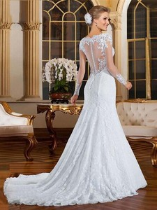 Image 3 - Robe de mariée sirène en dentelle, Sexy au dos, Illusion, avec des Appliques, robe de mariée blanche, sur mesure, 2020