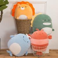 Plush Throw Pillows Hand Warmers Cartoon Stuffed Lion Panda Dinosaur Animals Shape Buttocks Cushions Kids Toys Gifts Pillows