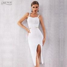 Adyce新夏白包帯ドレス女性エレガントなセレブイブニングパーティードレスvestidosセクシーなスパゲッティストラップディープvクラブドレス