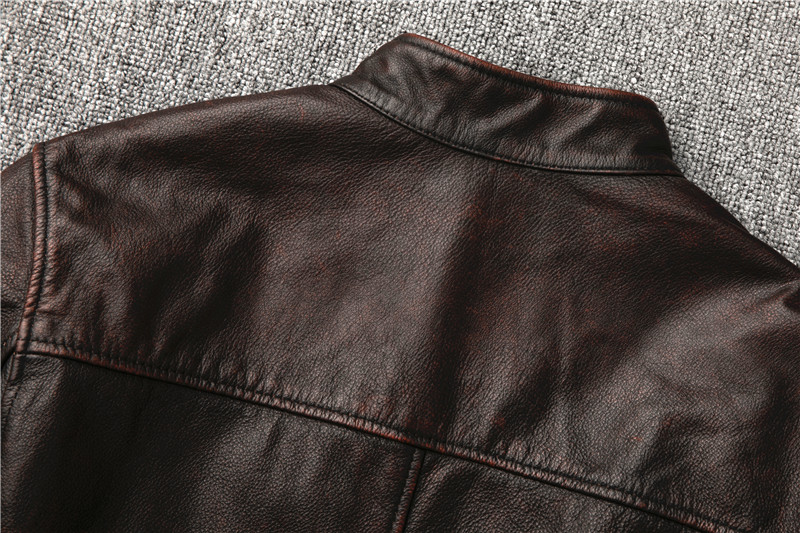 Hb5be82b0c2744f43b62449d64e570299S Classic motor style,vintage genuine leather Jacket,fashion men brown Leather coat,street biker coat,sales