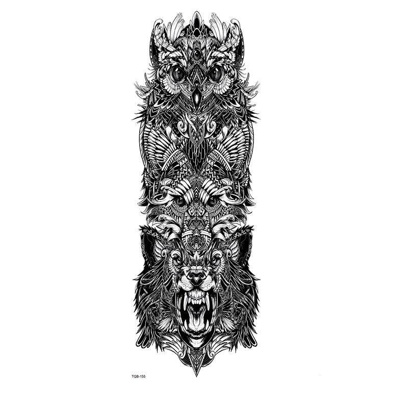 Tiger King And Owl Full Arm Waterproof Temporary Tattoos Men Animals Glitter Tattoo Sleeves Temporary Tatoo Fake Tattoo Stickers