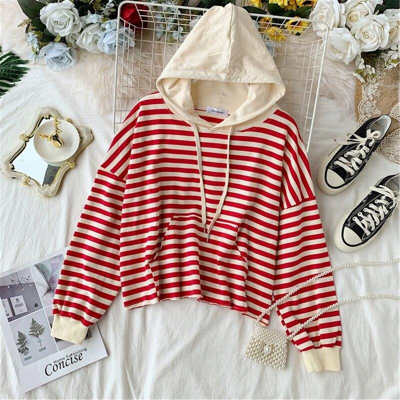 Women's Autumn Hoodies Striped Knit Sweatshirts Patchwork Hooded Woman Loose Lady Hoodie Japan Style Girls Tops LS202 41