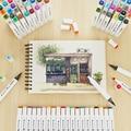 12/24/36/48/60 cores ponta dupla arte marcador canetas forro fino marcadores pintura em aquarela desenho caneta escova material escolar 04379