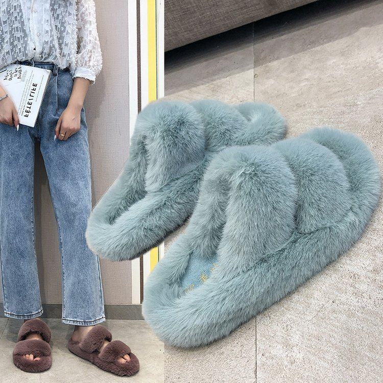 2020 Fluffy Home Slippers Women Faux Fur Slippers Cozy Furry Slides Open Toe Slip on Soft Slippers House Floor Plush Warm Shoes|Slippers| - AliExpress