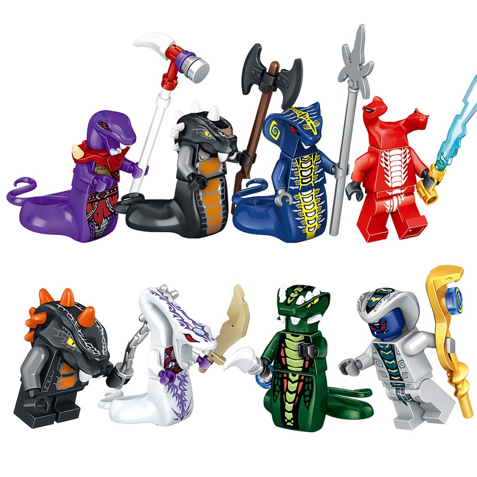 8PCS/LOT Building Blocks Sets Bricks Snake Acidicus Skales Pythor With Weapons Ninjagoings LegoINGlys Action Figures Kids Toys