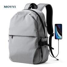 Мужской рюкзак MOYYI с защитой от кражи, водонепроницаемый рюкзак для ноутбука с usb зарядкой, очень легкие школьные сумки
