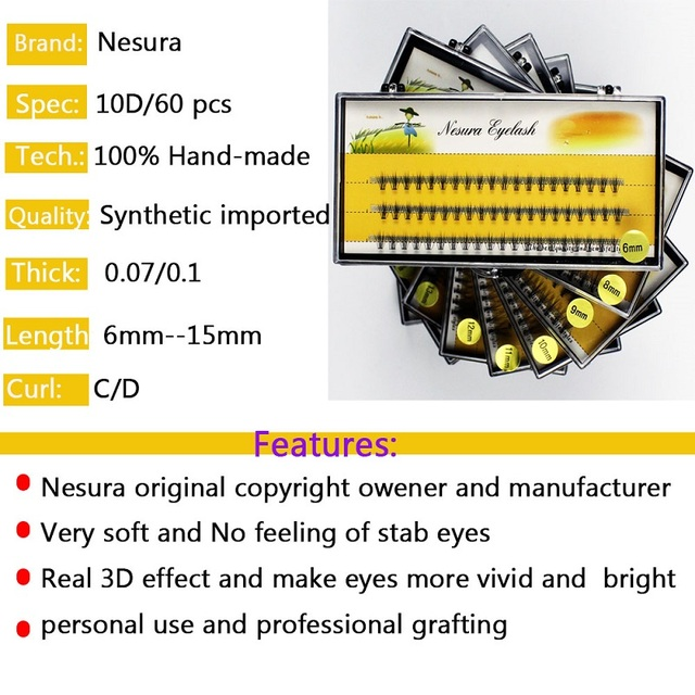 60 sheet 10 root Professional Makeup Personal Eyelashes Grafting Eyelashes Mink  Eyelashes Natural Curly Makeup Eyelash Tool 4