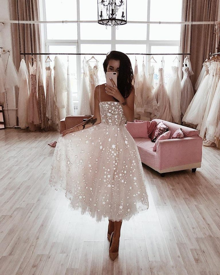 2020 Shinning Star A-Line Prom Dresses Tea Length Tulle Sequined Elegant Evening Formal Gowns Girls Party Homecoming Dress