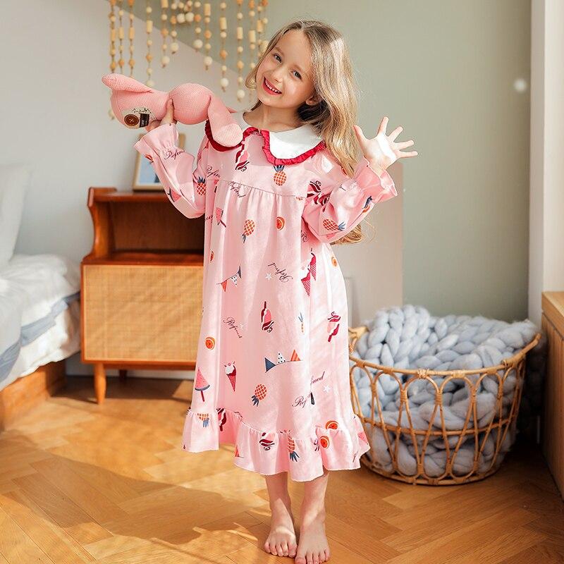Camis/ón Ni/ños Ni/ña 3-12A/ños Chica Manga Larga Estilo Princesa Linda Ropa De Dormir Pijamas