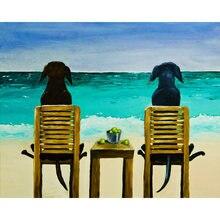 Diy картина по номерам собаки часы the sea комплект маслом Животные